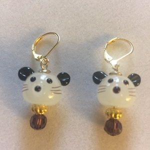 Little Mouse Earrings with Purple Crystal,…